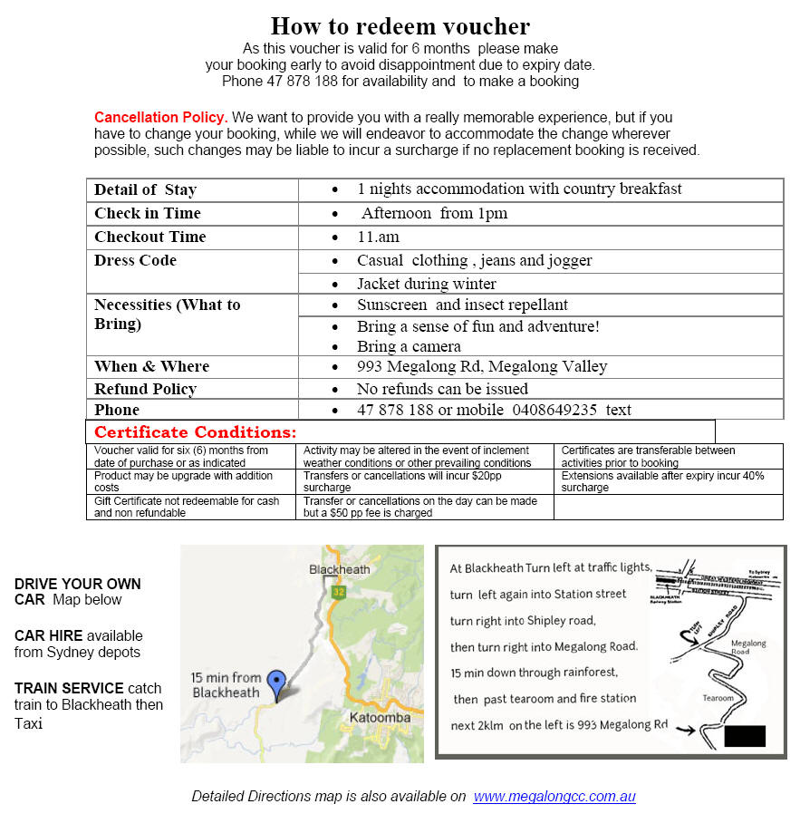 Gift Voucher Blue Mountains Country Escape 1 Night Map Download The As A Pdf Pay Online Then Fill In Receipt Number On